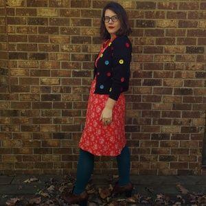 Polka Dot Embroidery Cardigan- Small Petite